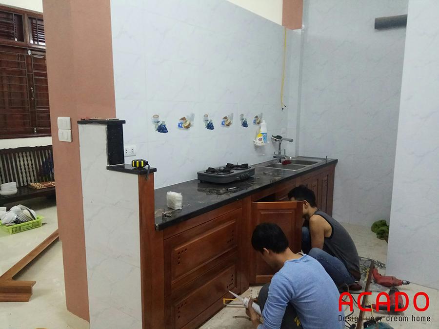Hình ảnh thi công lắp tủ bếp dưới tại La Khê