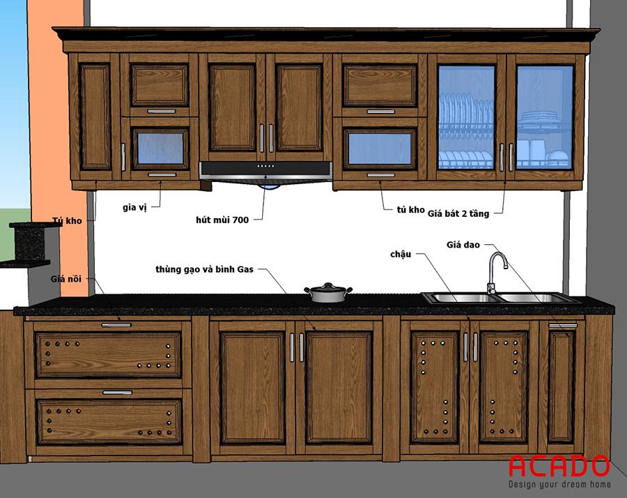 Ý tưởng cho tủ bếp tại La Khê. Chất liệu gỗ xoan đào tự nhiên.