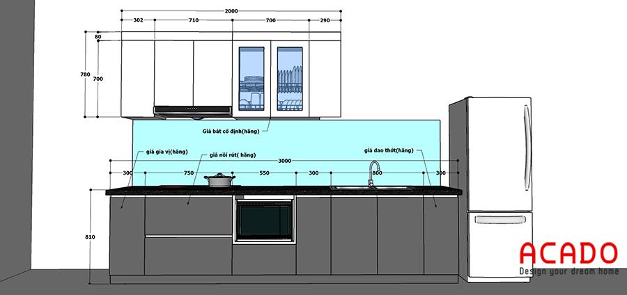 Thiết kế tủ bếp tại Thanh Trì của gia đình anh Đức