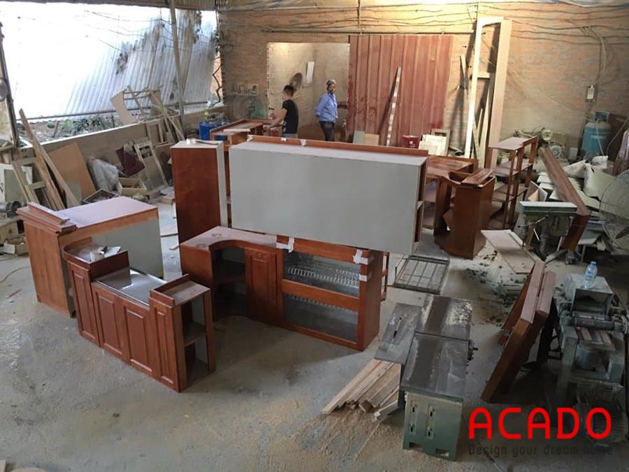 Tủ bếp tại Thanh Xuân được gia công tại xưởng của Acado
