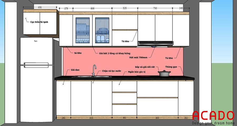 Phương án thiết kế tủ bếp tại Vạn Phúc gia đình chị Hương
