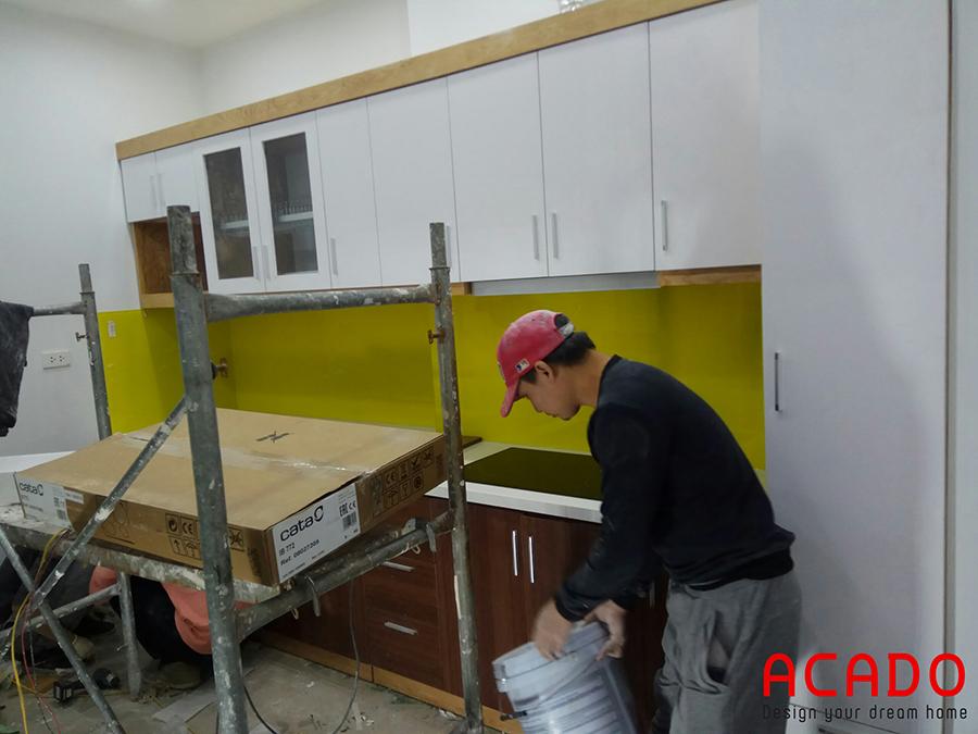 Hình ảnh tủ bếp tại Xuân Phương được hoàn thiện và chuẩn bị bàn giao cho gia chủ