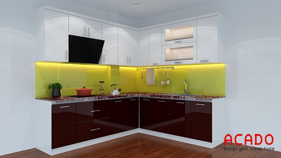 Tủ bếp sử dụng vật liệu picomat mang lại vẻ đẹp hiện đại và sang trọng cho căn bếp