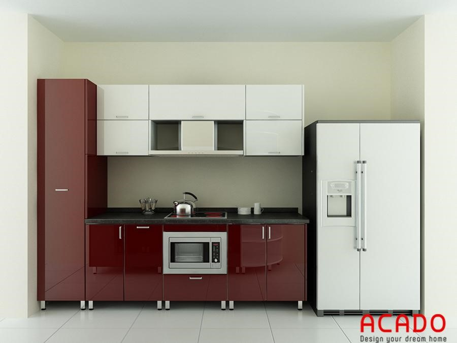 Mẫu tủ bếp thùng inox, cánh Acrylic bóng gương hiện đại, trẻ trung