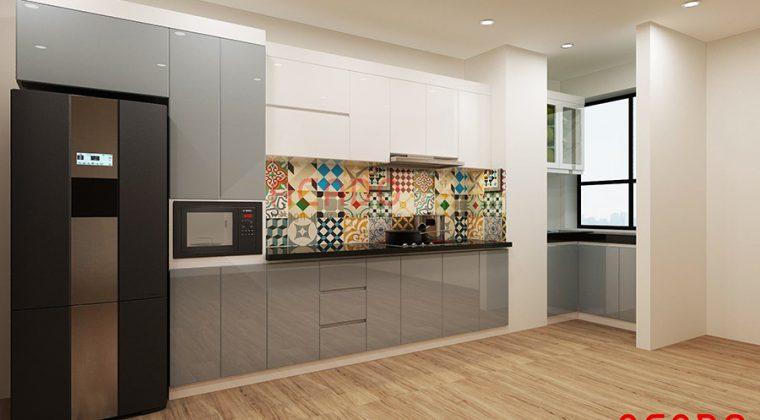 Tủ bếp Acrylic màu trắng ghi bóng gương dễ dàng vệ sinh lau chùi