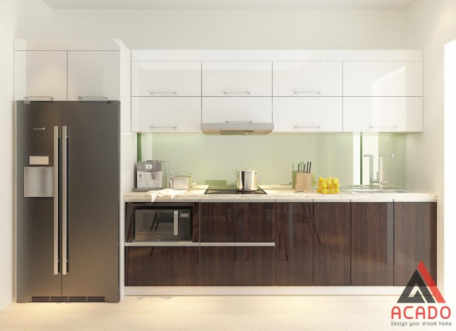 Thêm mẫu tủ bếp Acrylic bóng gương đẹp từ ánh nhìn đầu tiên