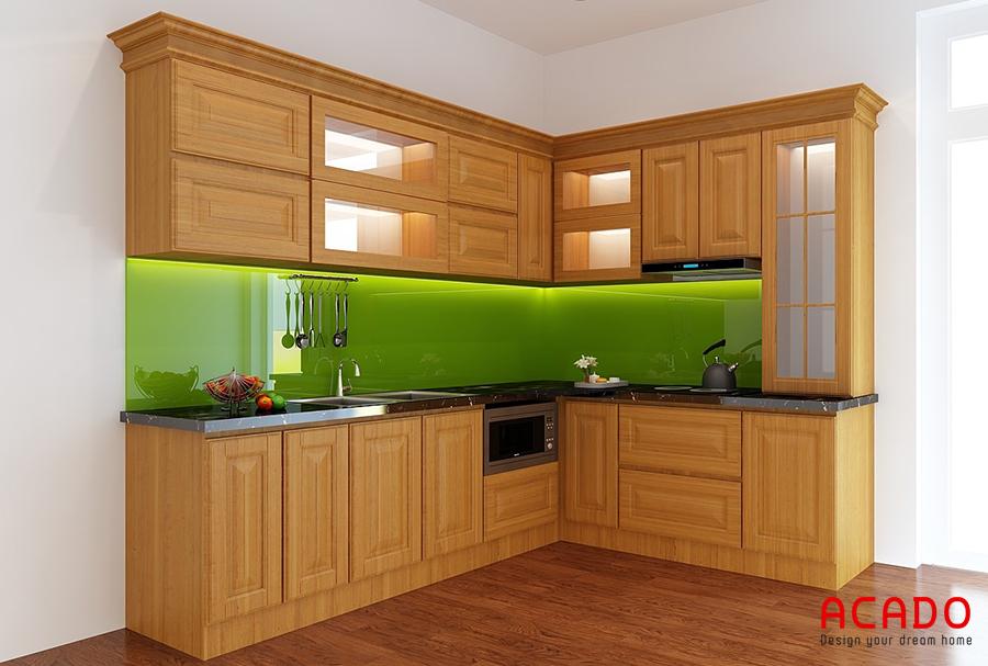 Mẫu tủ bép hình chữ L gỗ sồi Nga tận dụng không gian góc của phòng bếp