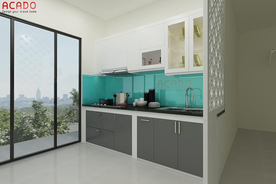 Mẫu tủ bếp picomat hình chữ i màu trắng-ghi nhỏ gọn, hiện đại