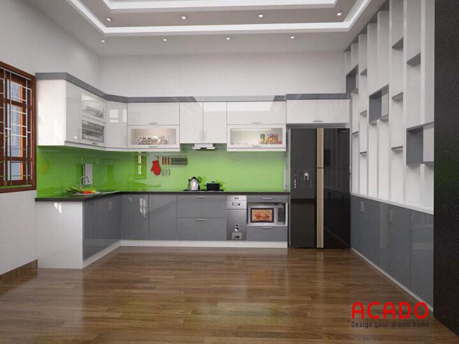Mẫu tủ bếp với thùng tủ picomat chống nước cánh Acrylic sáng bóng