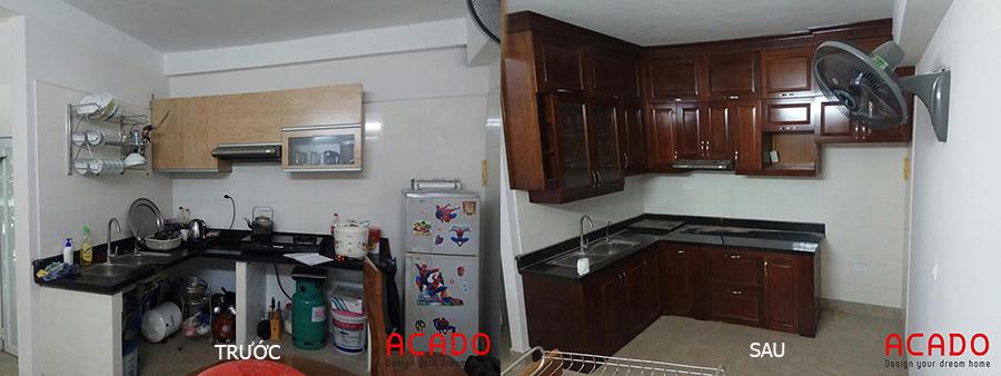 Tủ bếp trước và sau khi được cải tạo