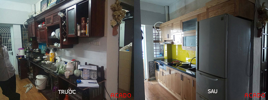 Sự khác biệt khi tủ bếp cũ được cải tạo
