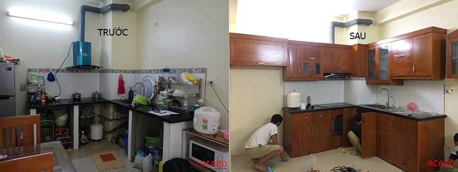 Căn bếp như được thay áo mới khi Acado thi công cải tạo lại tủ bếp cũ