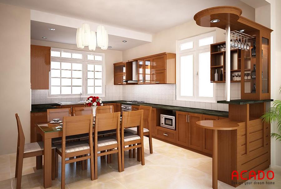 Mẫu tủ bếp gỗ sồi Mỹ có quầy bar đem lại không gian bếp sang trọng và tiện nghi