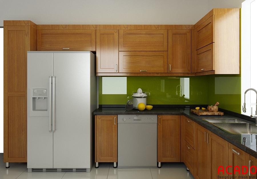 Mẫu tủ hình chữ L gỗ sồi Mỹ tối ưu không gian sử dụng phòng bếp