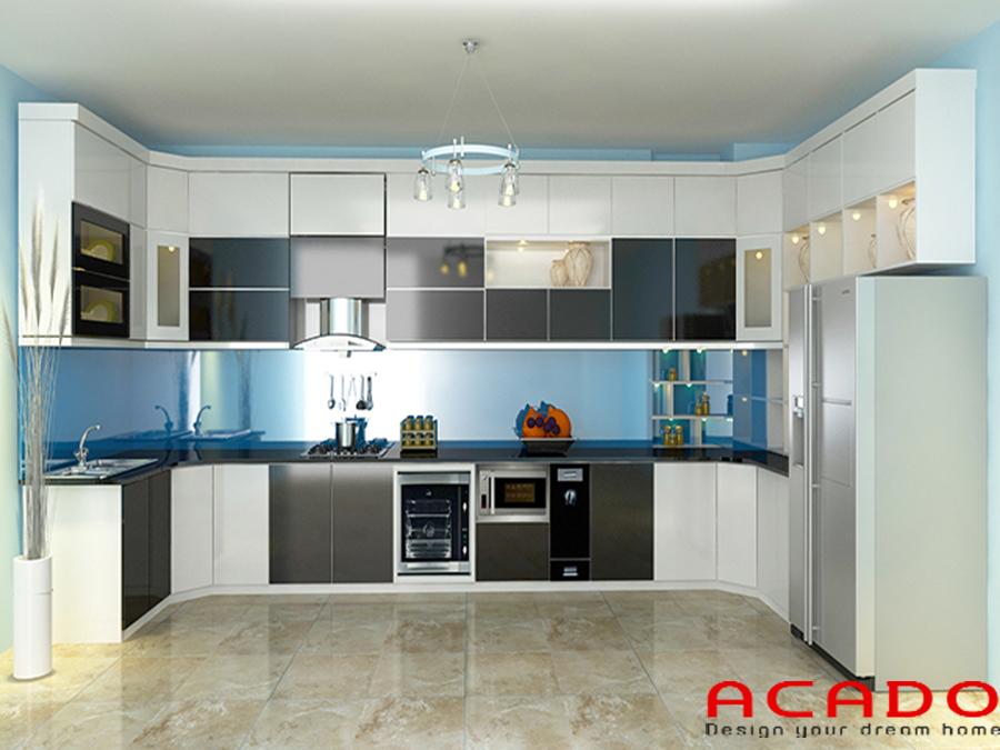 Mẫu tủ bếp Acrylic hình chữ U rộng rãi, thoải mái khi sử dụng