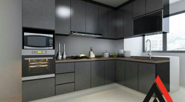 Tủ bếp Acrylic màu ghi cho khách hàng yêu thích sự sang trọng - nội thất ACADO