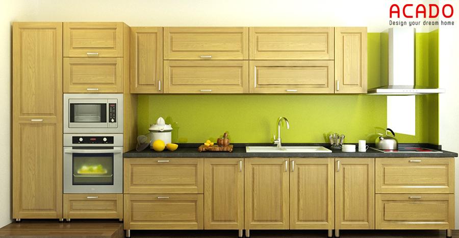 Mẫu tủ bếp gỗ sồi nga đơn giản nhưng đầy đủ tiện nghi