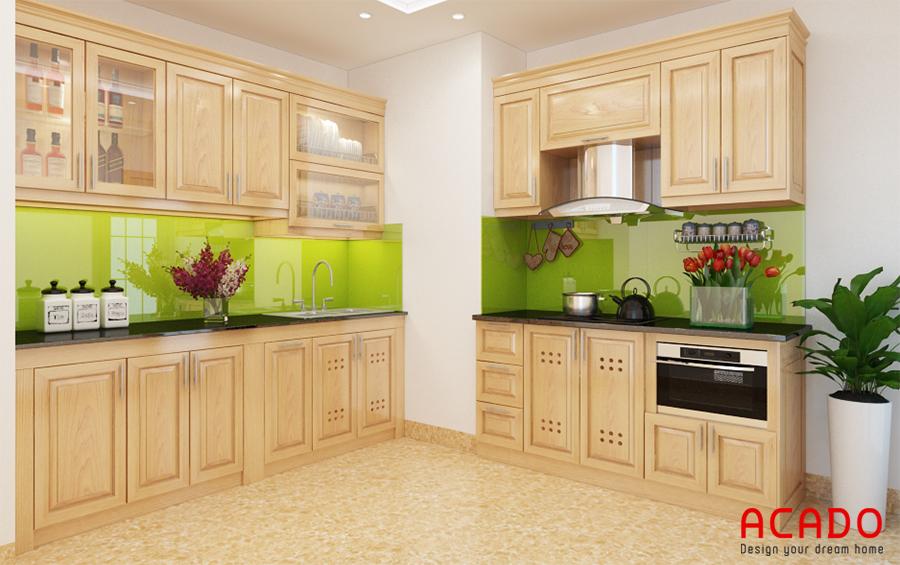 Mẫu tủ bếp gỗ sồi Nga hình chữ L tận dụng tối đa không gian góc