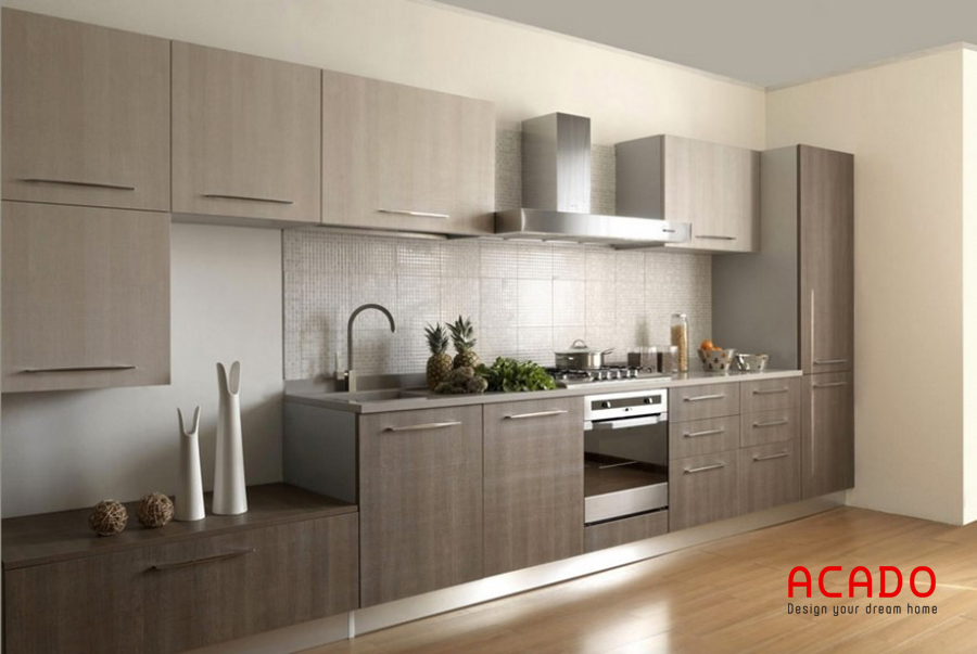 Mẫu tủ bếp inox kết hợp với gỗ Laminate màu vân gỗ sang trọng và bền bỉ