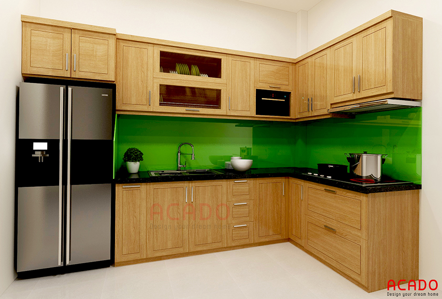 Mẫu thiết kế tủ bếp hình chữ L gỗ sồi Nga tối ưu không gian bếp