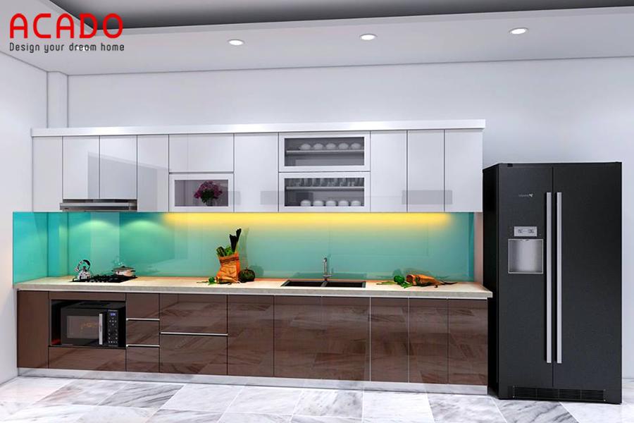 Mẫu tủ bếp Acrylic hình chữ i nhỏ gọn phù hợp với các căn hộ chung cư