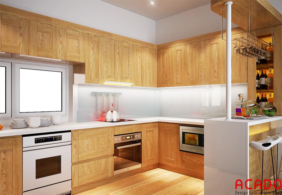 Mẫu tủ bếp có quầy bar làm bằng gỗ sồi sang trọng, hiện đại