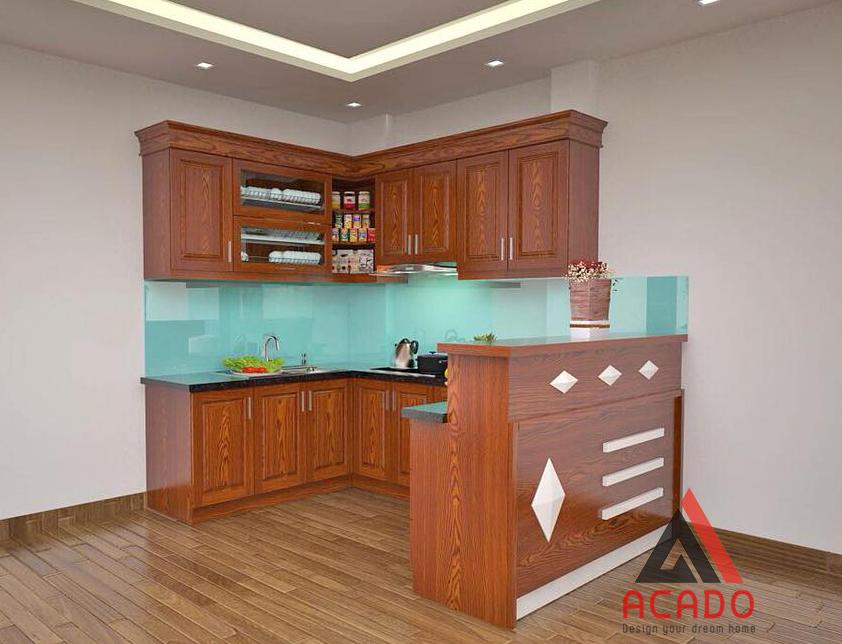 Với không gian bếp rộng tủ bếp hình chữ U có quầy bar là sự lựa chọn hoàn hảo