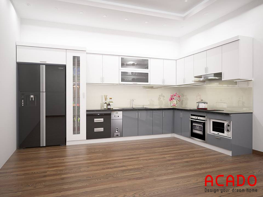 Mẫu tủ bếp Acrylic bóng gương màu trắng-ghi hình chữ L
