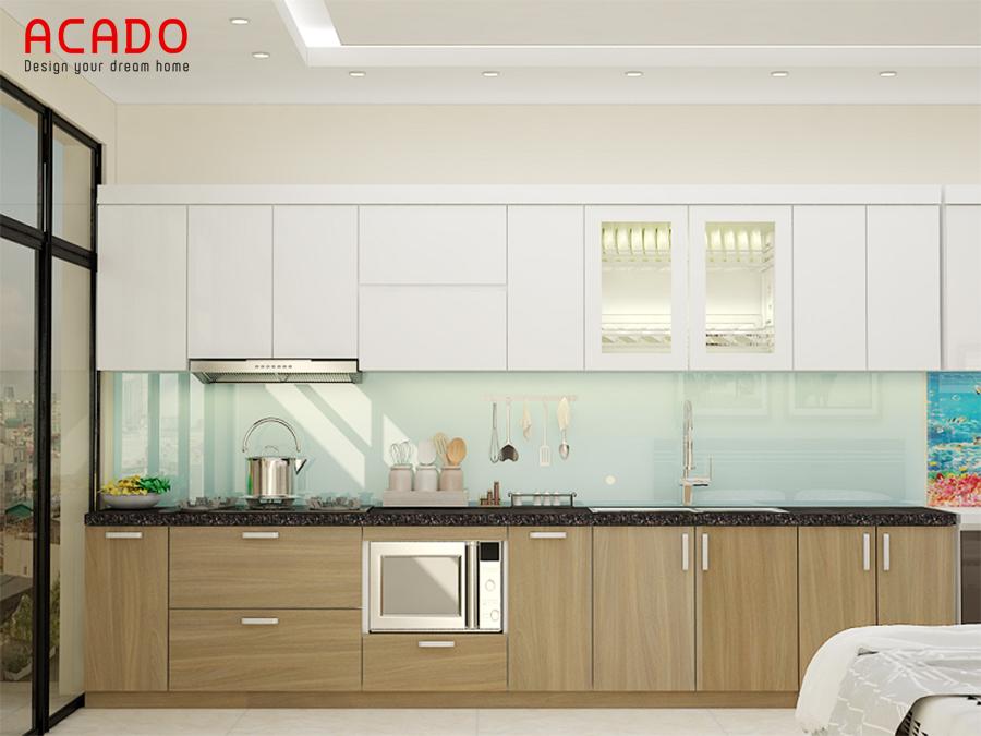 Mẫu tủ bếp Laminate cao cấp, sang trọng hiện đại