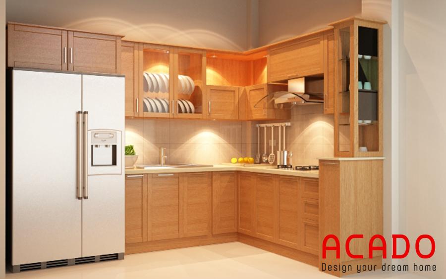 Tủ bếp gỗ sồi mỹ tận dụng không gian