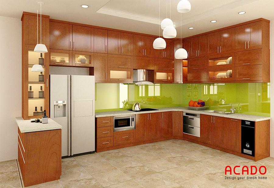 Tủ bếp thiết kế chữ U gỗ sồi Mỹ sang trọng đẳng cấp