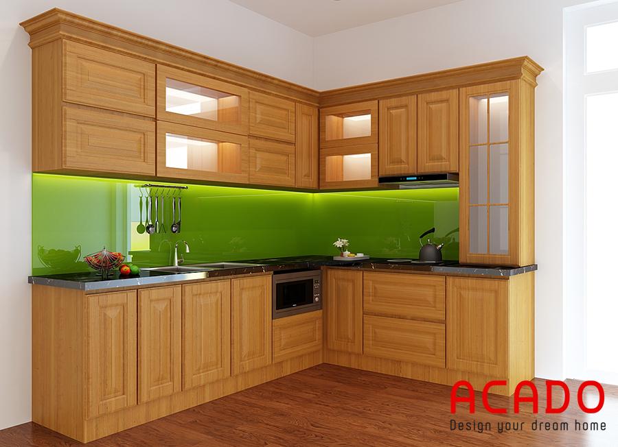Tủ bếp gỗ sồi Nga nhỏ chữ L tiện nghi