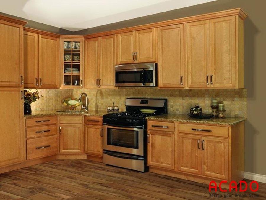 Mẫu tủ bếp gỗ sồi Mỹ bền đẹp theo thời gian