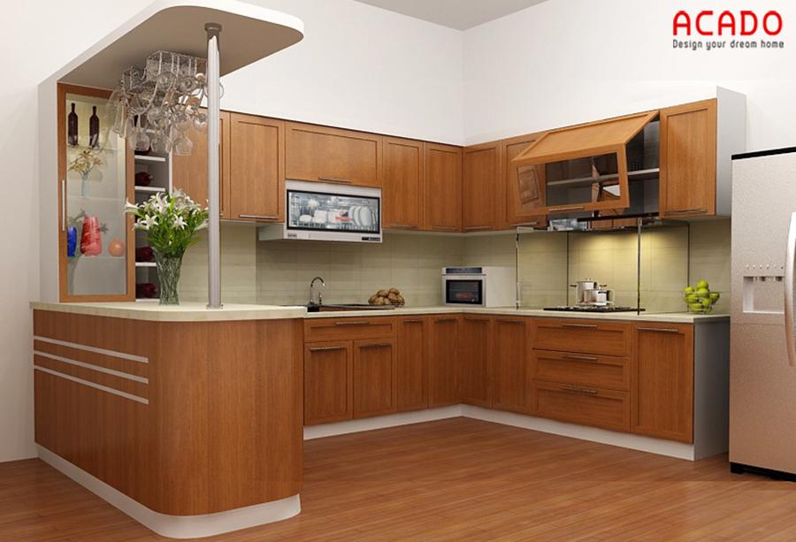 Với không gian bếp rộng rãi thì mẫu tủ bếp gỗ sồi Mỹ hình chữ U có quầy bar là lựa chọn lý tưởng cho bạn