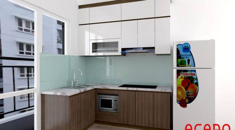 Tủ bếp gỗ công nghiệp rất phù hợp với các căn hộ chung cư