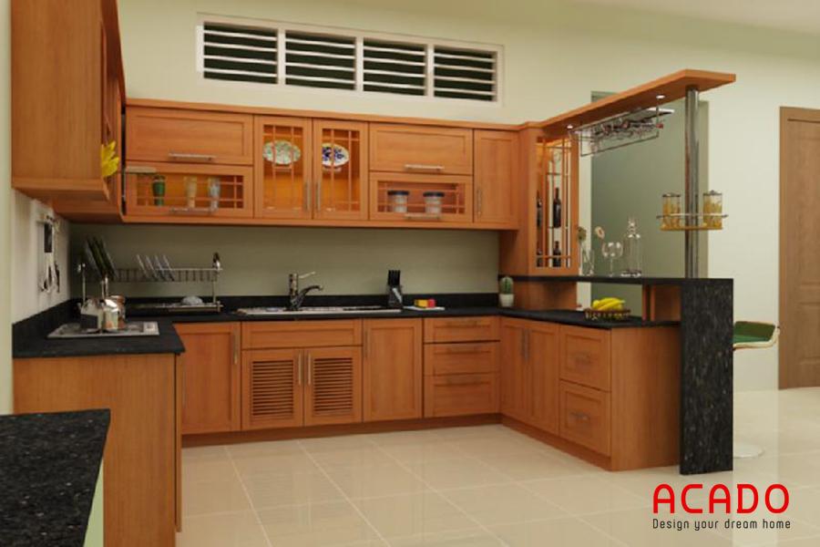 Mẫu tủ bếp gỗ xoan đào có quầy bar sang trọng và đẳng cấp