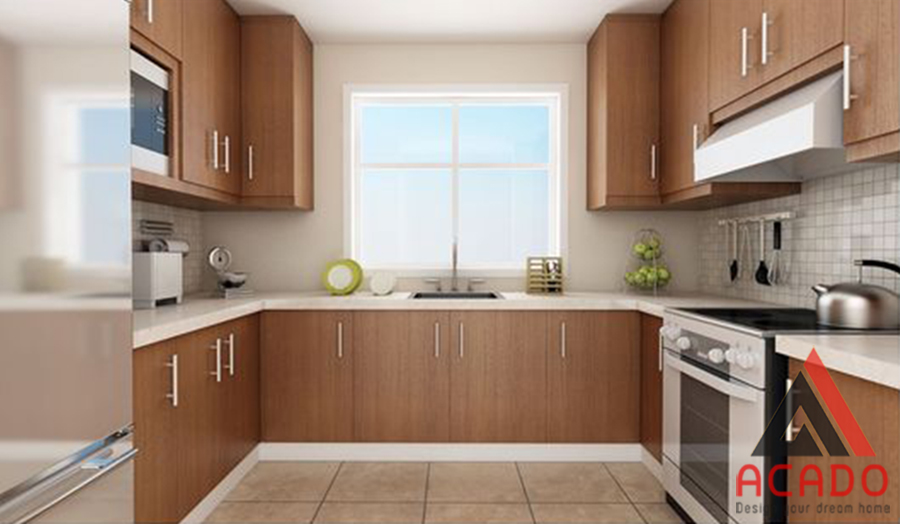Mẫu tủ bếp gỗ công nghiệp hình chữ U màu vân gỗ đẹp, sang trọng và hiện đại