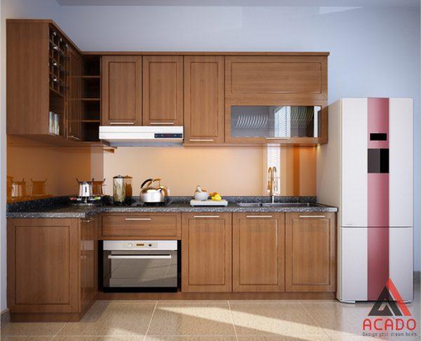 Mẫu tủ bếp gỗ sồi Mỹ bền đẹp giá thành phải chăng