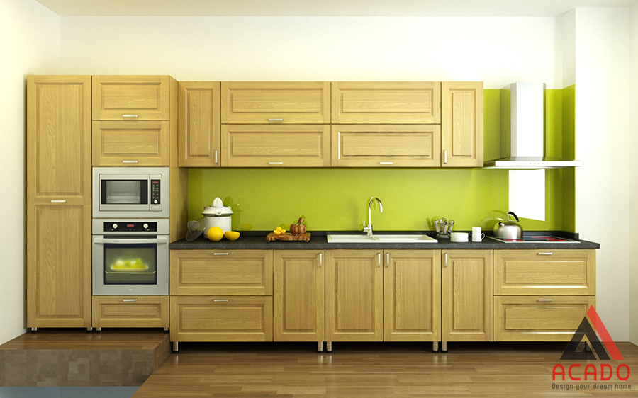 Với không gian bếp ẩm ướt thường xuyên tiếp xúc với nước thì mẫu tủ bếp này là sự lựa chọn hoàn hảo