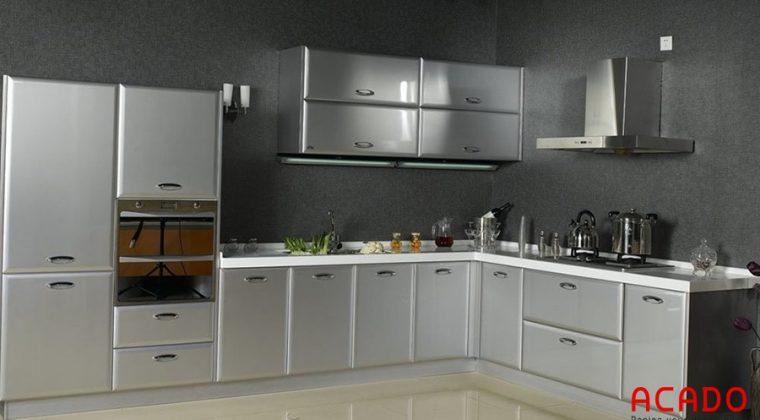 Tủ bếp hình chữ L làm từ 100% inox sáng bóng