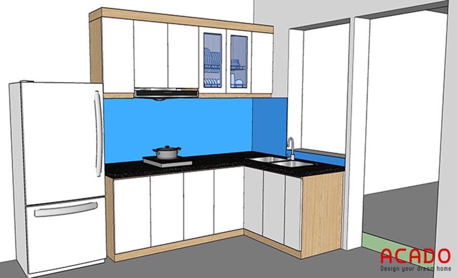 Phương án thiết kế tủ bếp Linh Đàm gia đình chị Toan