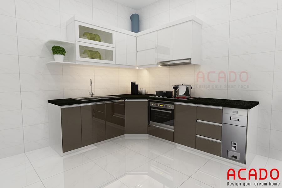 Mẫu tủ bếp Acrylic mini nhỏ gọn tiết kiệm diện tích nhưng vẫn đầy đủ tiện nghi