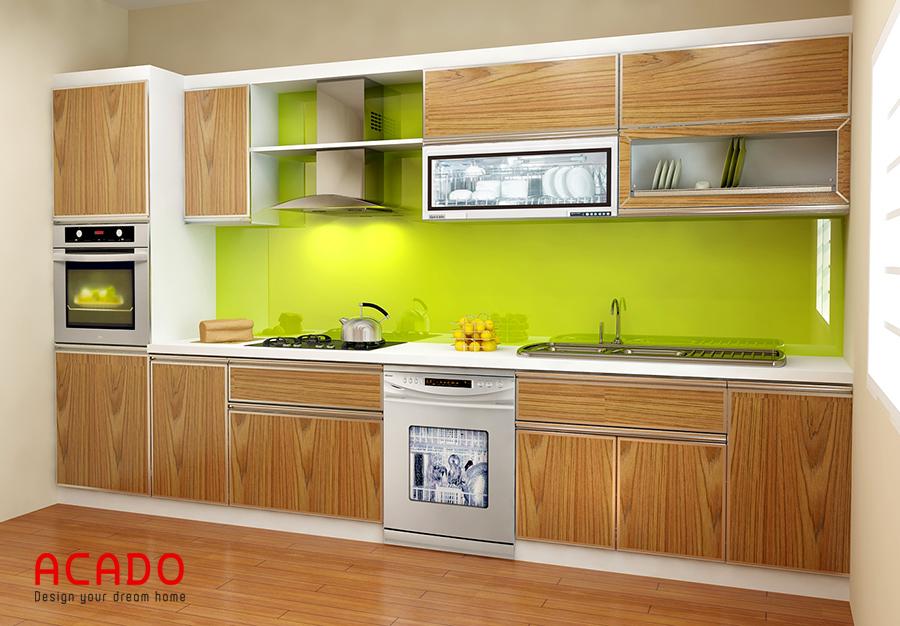 Sự ấm cúng và sang trọng thể hiện qua thiết kế tủ bếp picomat hình chữ i màu vân gỗ
