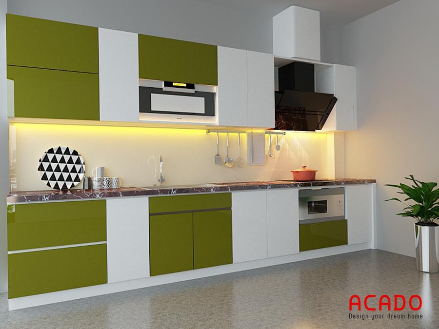 Tủ bếp picomat hình chữ i màu trắng-xanh với thiết kế thông minh đầy đủ tiện nghi