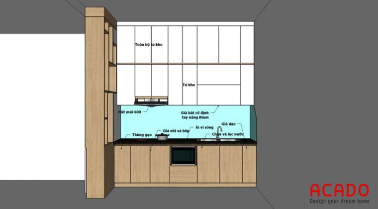Phương án thiết kế tủ bếp Văn Khê gia đình anh Dân