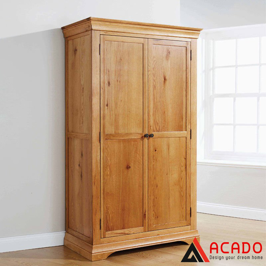 tủ quần áo gỗ tự nhiên đẹp vàng sáng