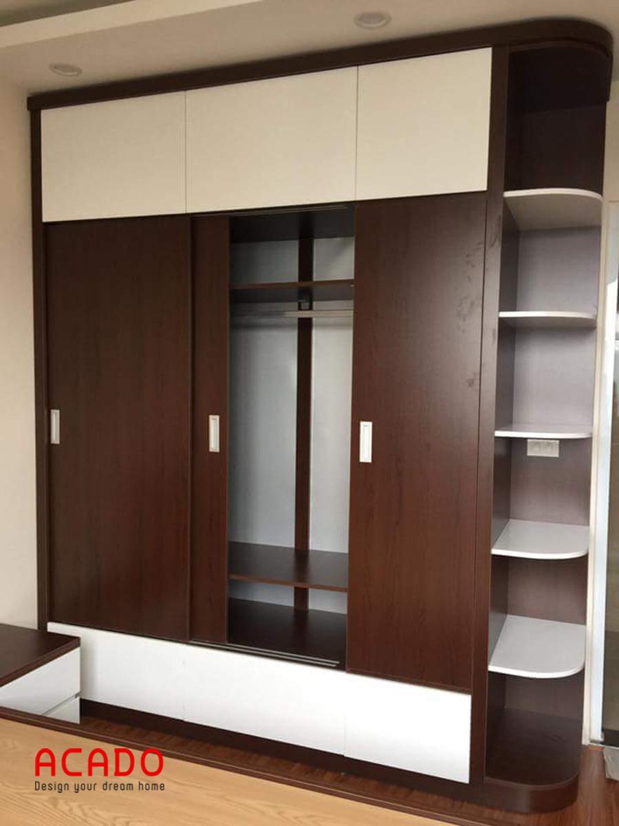 Mẫu tủ quần áo cánh lùa làm bằng gỗ Melamine màu trắng-vân gỗ