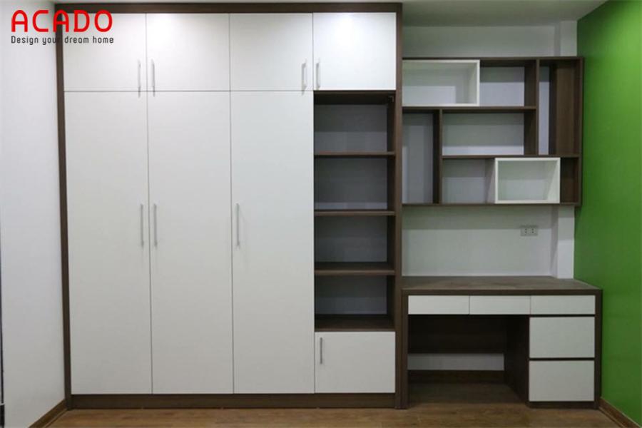 Mẫu tủ quần áo kèm kệ trang trí, bàn học tối ưu diện tích sử dụng