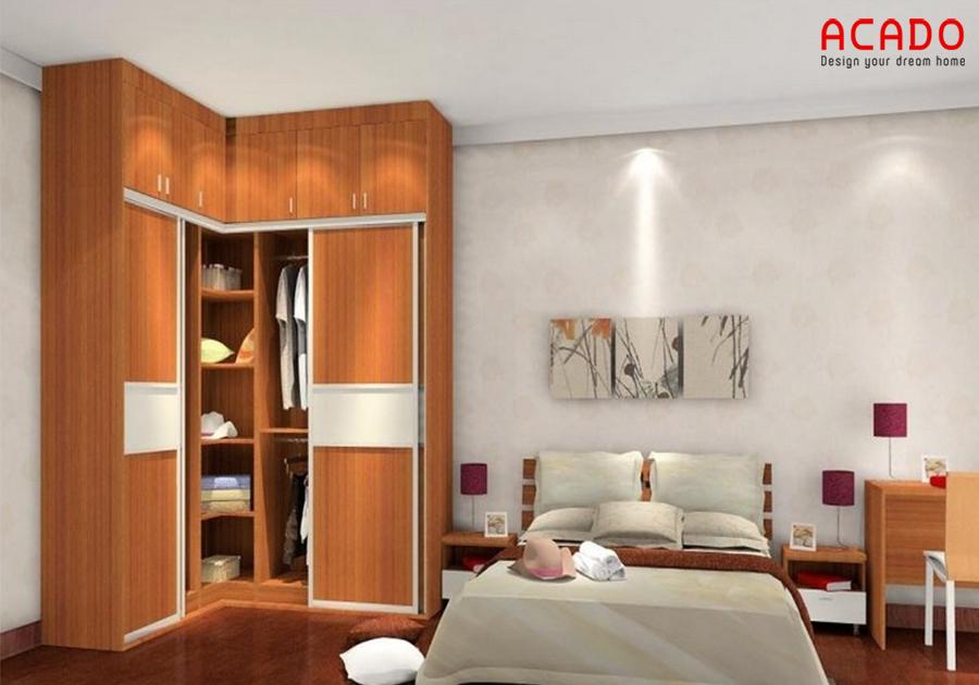 Mẫu thiết kế tủ quần áo dạng góc tận dụng không góc của phòng