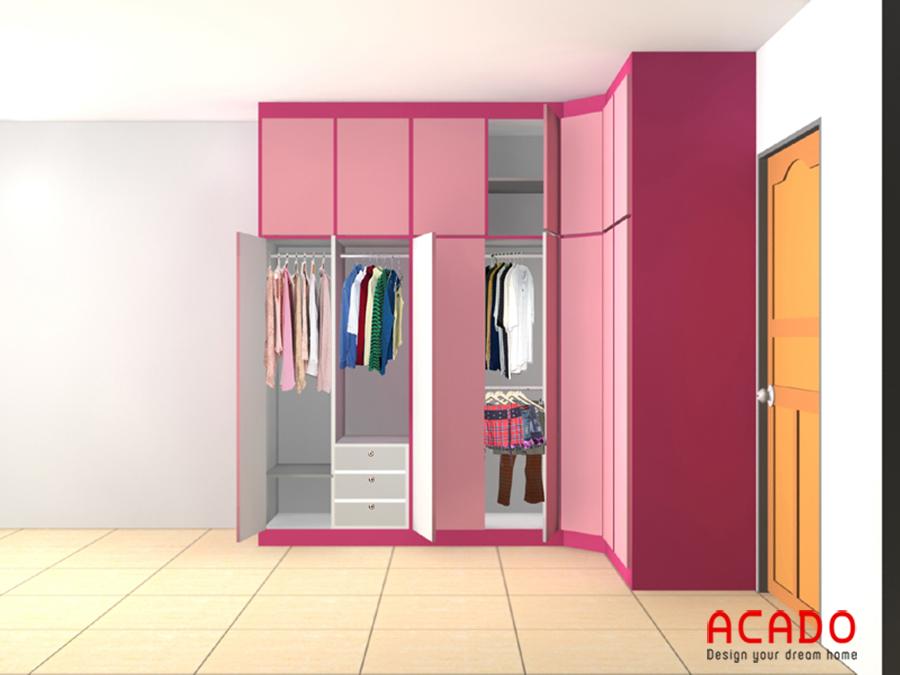 Mẫu thiết kế tủ quần áo dạng góc cho phòng của các bé gái